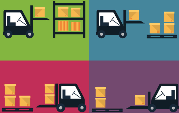 Forklift picking up and dripping boxes – 2015 shipping news, USPS price change, dimensional weight pricing and FedEx/UPS fuel surcharges