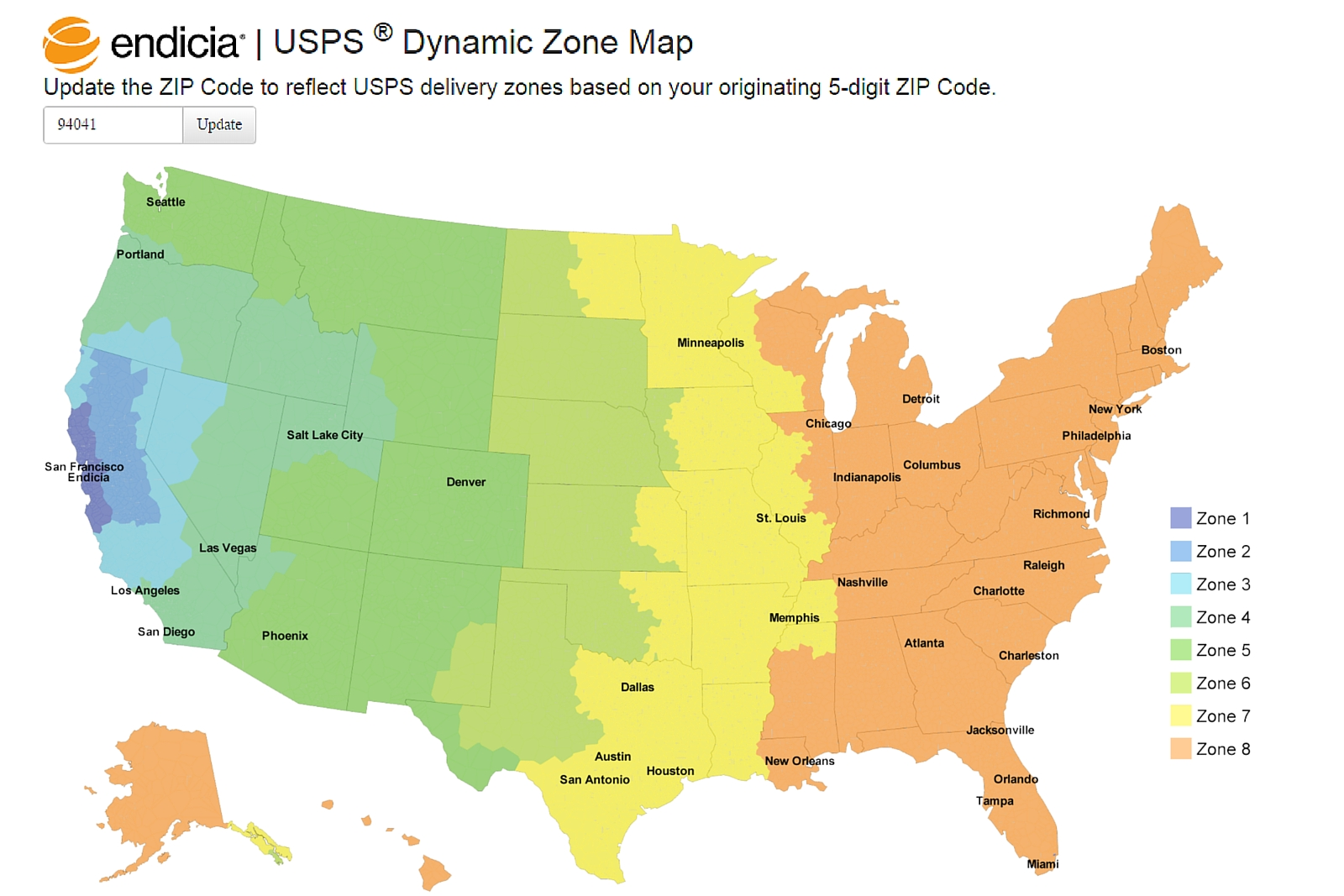 Endicias Dynamic Zone Map Takes The Guesswork Out Of Delivery - Us postal zone map
