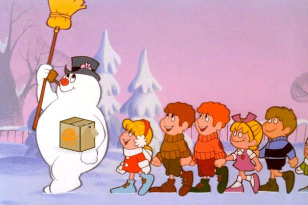 Frosty the Snowman holding Endicia box – Fun twist on classic holiday song