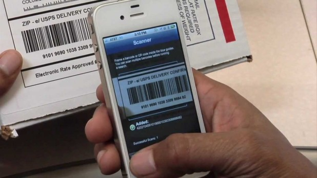 USPS package tracking – person scanning USPS barcode
