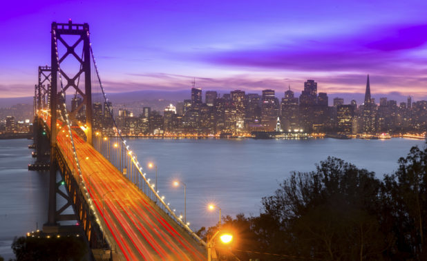 View of San Francisco and Bay Bridge