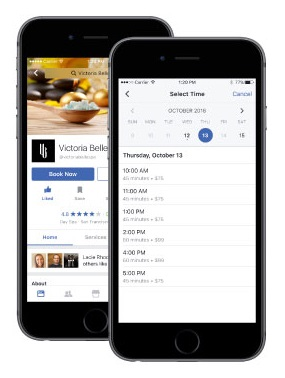 Demonstration of Facebook appointment booking feature