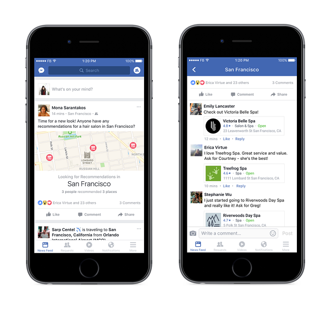 Screengrabs of Facebook's Recommendations feature